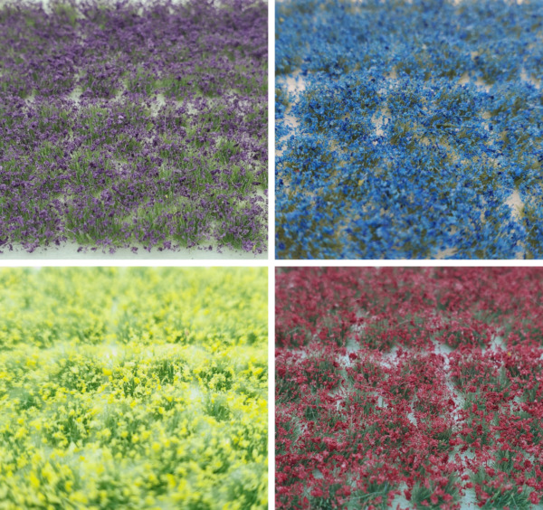 Self Adhesive Static Grass Tufts for Miniature Scenery Mix Wildflowers 4mm