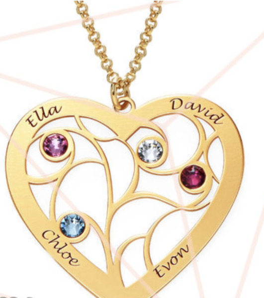 HEART FAMILY TREE NECKLACE WITH BIRTHSTONES IN GP