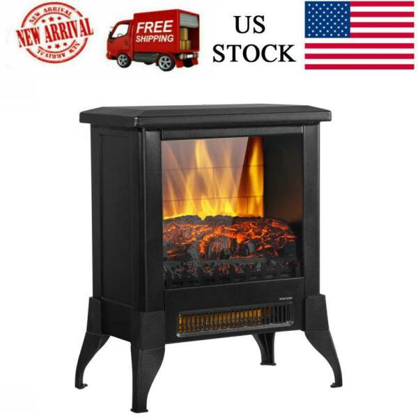 14 inch 1400W Freestanding Fireplace Fake Wood Heating Wire Home office Black $70.99