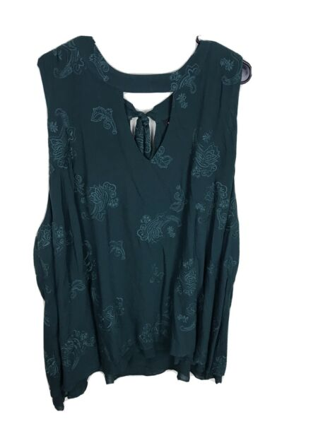 Green Torrid Floral Embroidered Chocker Neck Tunic Top 5 Xl Sleeveless Keyhole $29.99