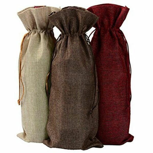 Linen Burlap Wine Bags 3PCS Bottle Bags with Dstrings for Party Wedding Fa W2V7