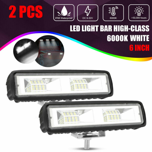 2X 6quot;Inch LED Work Lights 60W Driving Strip Flood Beam light Bar 4WD SUV Offroad