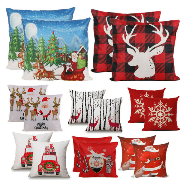 2pcs Merry Christmas Retro Red Truck Trees Snowflakes Holiday Cotton Linen Cover $6.93