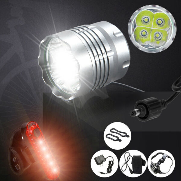 4x T6 LED Mountain Bike Lights Rechargeable Bicycle Front Lamp Waterproof $15.19