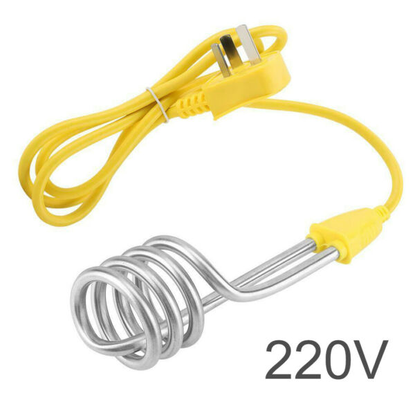 US 1600W 220V Portable Stainless Immersion Water Heater Heating Element Cord $7.99