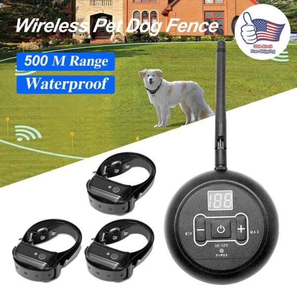 Wireless Electric Dog Fence For 1 2 3 Dog Pet Containment System Shock Collar US