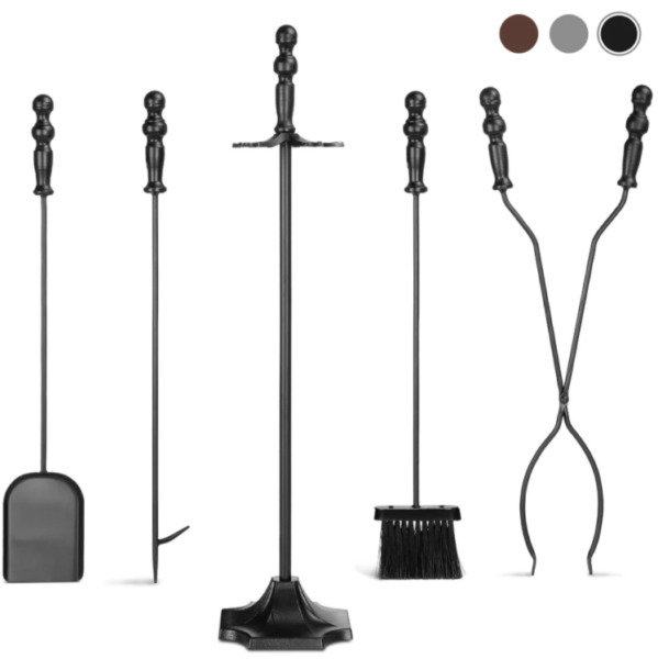 5 piece Antique Fireplace Rustic Wrought Iron Hearth Stand Set Fire Tools