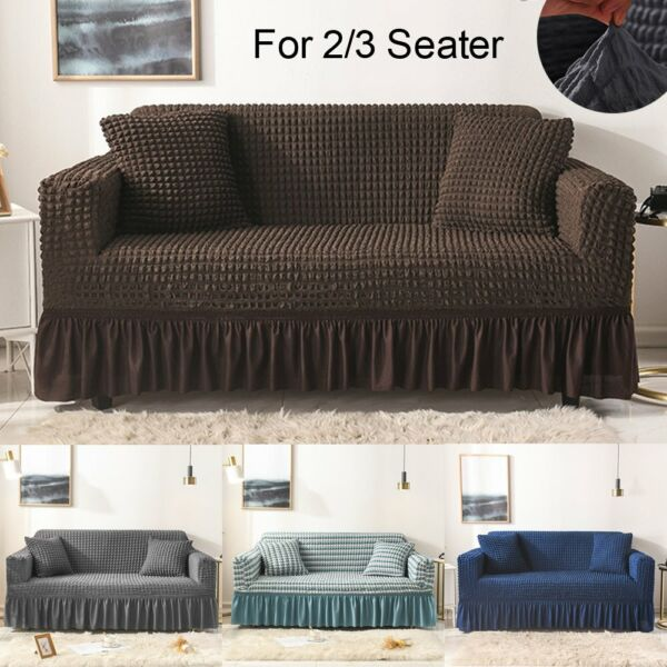 2 3 Seater Sofa Cover Stretch Elastic Couch 3D Bubble Lattice Slipcover Loveseat $28.96