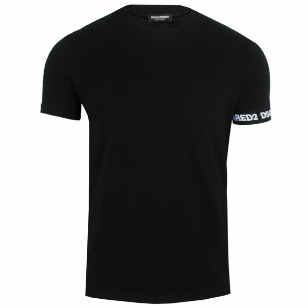 DSQUARED2 T SHIRT MENS ROUND NECK CUFF DETAIL BLACK TOP GBP 55.00