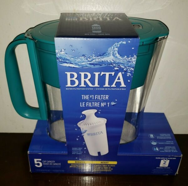 Brita 5 Cup BPA Free Water Filtration Pitcher with 1 Standard Filter 2 Months
