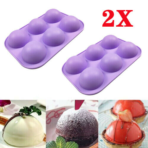 2Pcs 3D Half Ball 6 Cell Silicone Chocolate Mold Sphere Cupcake Cake Baking Mold
