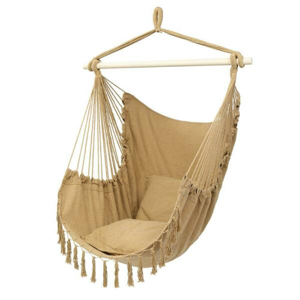 Hammock Chair Patio Porch Yard Tree Hanging Air Swing Seat Rope Coffee $19.95
