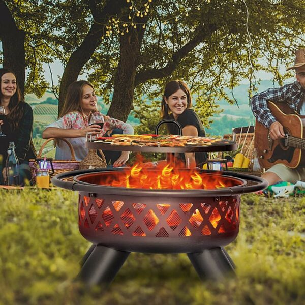 Fire Pit Wood Round Fire Bowl 38quot; Ourdoor Heater w Cover Adjustable Grill Heavy