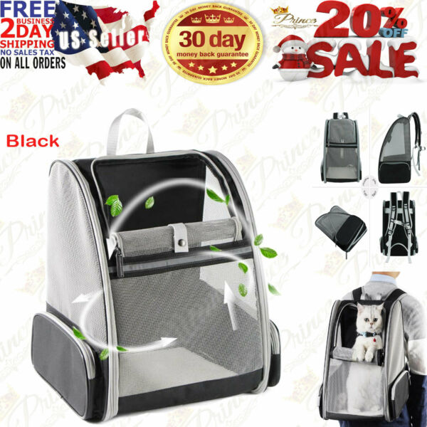Texsens Pet Backpack Carrier for Small Cats Dogs Ventilated Design Black $43.95