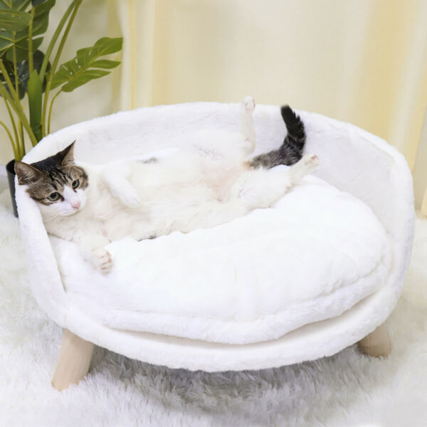 Pet Sofa Bed Raised Cat Chair Small Dog Couch Bed Removable Cushion Sleep House $46.96