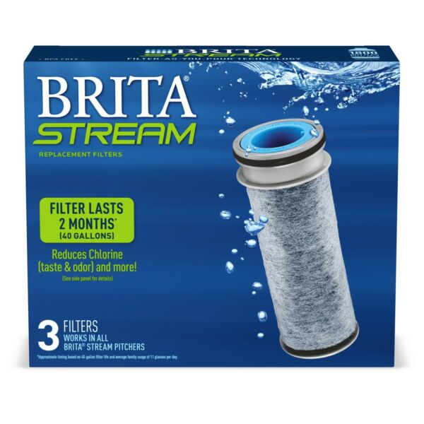 BRITA OB05 36215 STREAM W FILTER AS YOU POUR PITCHER REPLACEMENT FILTERS 3 PK