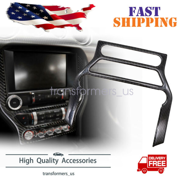 Carbon Fiber Interior CD Panel Decor Cover Trim Fit For Ford Mustang 2015 2019 $16.79