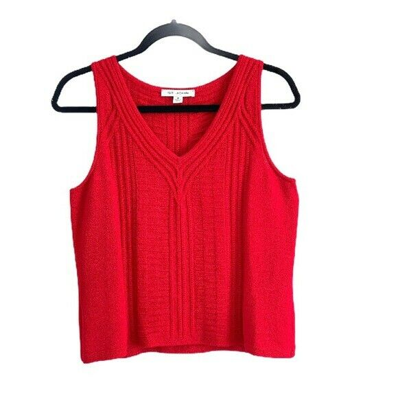 St. John Cable Knit V neck Tank Top Red Size S