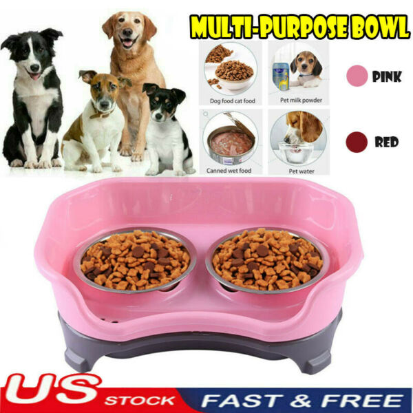 Double Elevated Raised Dog Pet Feeder Bowl Stainless Steel Food Water Stand Tray $15.99