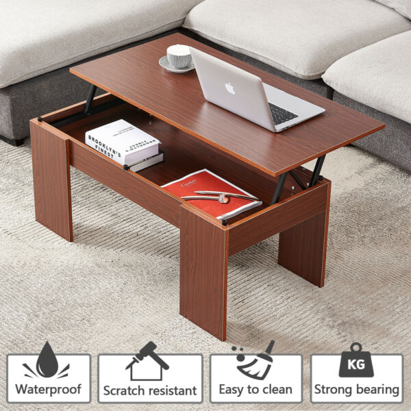 Modern Lift Top Coffee Table w Hidden Compartment Storage Living Room Furniture