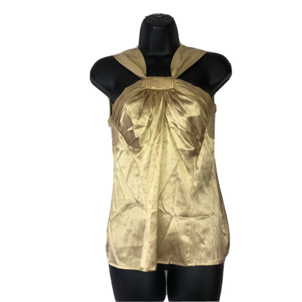 caché Silk Gold Blouse Small Tank $20.09