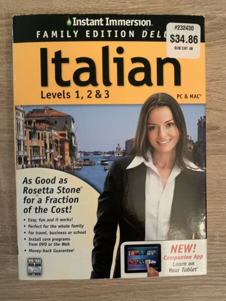 New Instant Immersion Deluxe Italian Levels 1 2 amp; 3 Language Learning Course $14.99