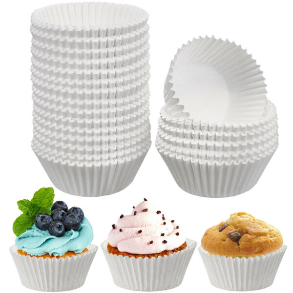 500Pcs Lot White Cupcake Liners Paper Cup Cake Baking Cup Muffin Cases Cake Mold