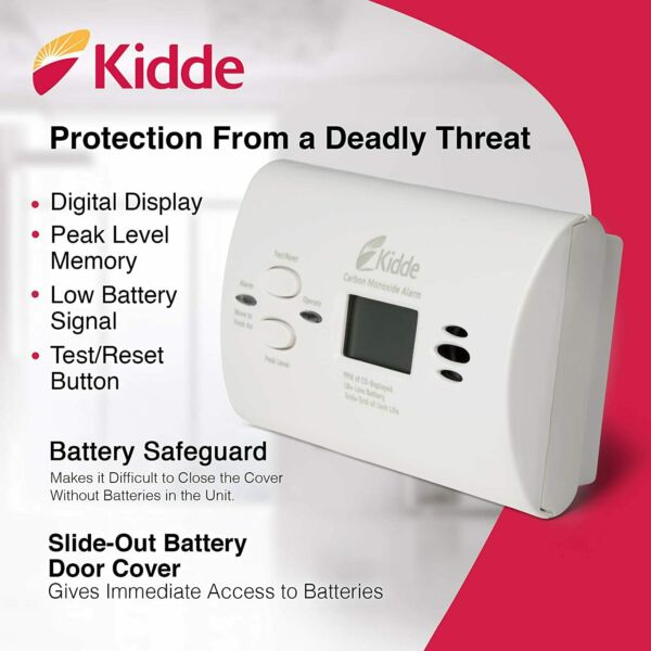 Kidde Battery Operated Carbon Monoxide Alarm White With Digital Display Yr.2020 $22.49