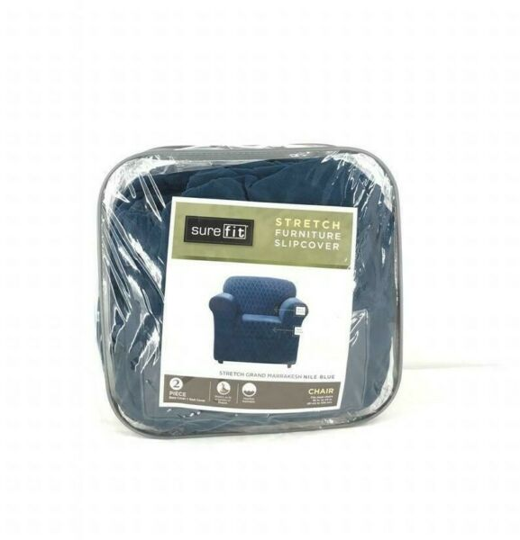 Sure Fit Stretch Grand Marrakesh Nile blue Slipcover Base and seat cover NEW $40.00