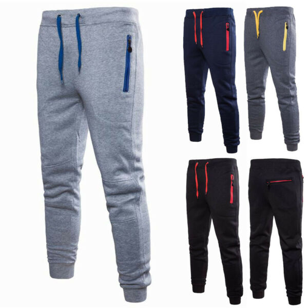 Men Sport Pants Long Trousers Tracksuit Fitness Workout Joggers Gym Sweatpants $15.69