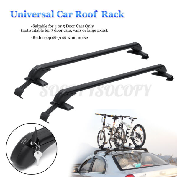 Universal 41#x27;#x27;Aluminum Roof Rack Cross Bar Luggage Carrier For Car 4DR Sedan SUV $50.82