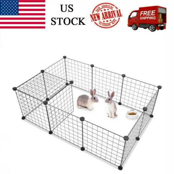 14quot;Metal Dog Pet Playpen Crate Animal Fence Exercise Cage W Door 12 Pcs Kit $23.59