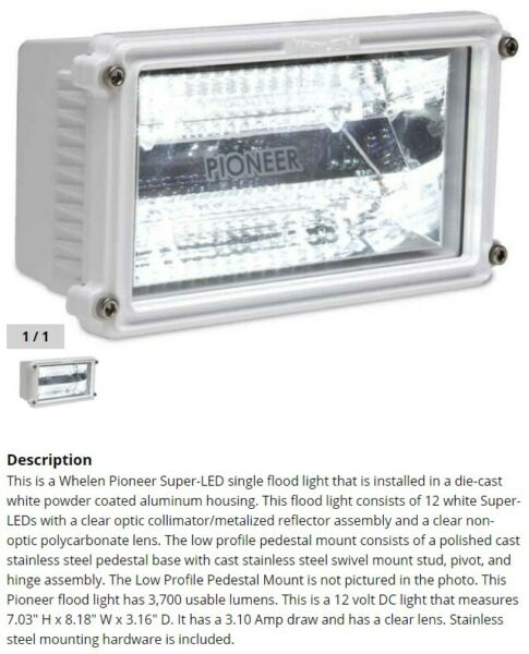 Whelen Pioneer Plus PFA1LP flood light 12 volt 3700 lumens low profile mount