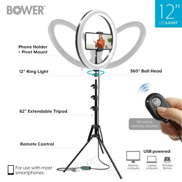 Bower 12quot; LED Selfie Ring Studio Light Kit Tripod Social Media Live Streaming
