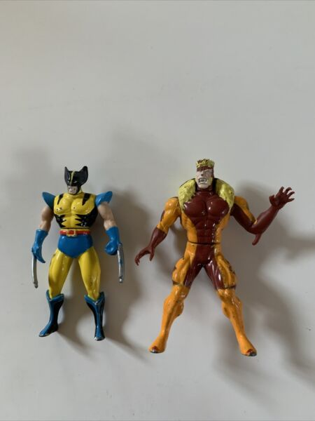 Toy Biz Marvel Die Cast X Men Metal Wolverine Sabretooth Mojo Action Figures.