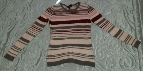 Charter Club Luxury Small 100% Cashmere Crew Neck Stripe Sweater $16.80