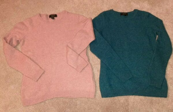 2 Charter Club Luxury Small 100% Cashmere Crew Neck Sweaters $25.00