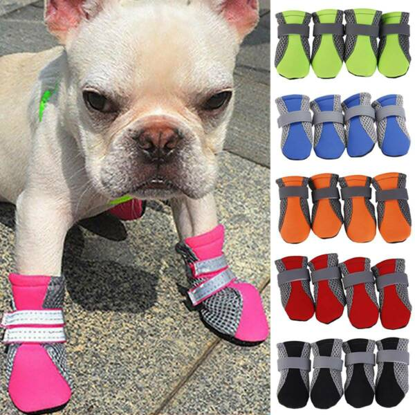 Anti Slip Pet Dogs Mesh Breathable Shoes Boots Paw Feet Protective Socks Booties $8.26