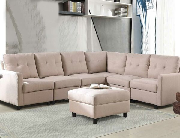 7 Piece Modular Sectional Sofa Modern Living Room Linen Couch With Back Cushion