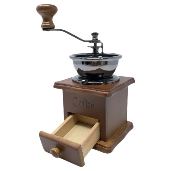 Manual Coffee Grinder Antique Style Hand Crank Coffee Mill with Wood Drawer NEW