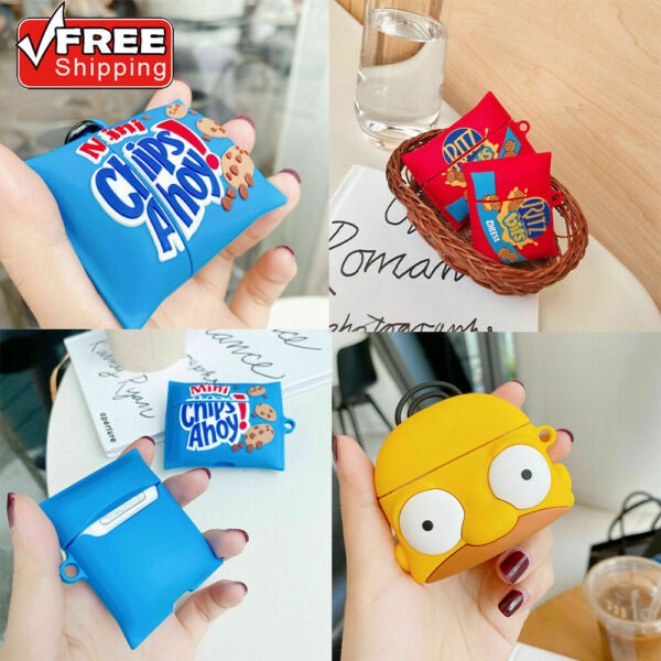 For AirPods Pro 1 2 Cover Wireless Cute 3D Cartoon Snacks Silicone Earphone Case