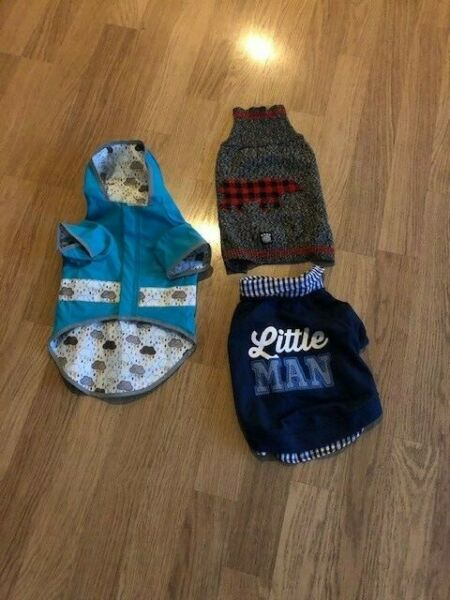 Lot 3 Pieces of Dog Clothing Raincoat Sweater T shirt $24.99