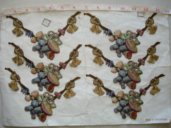 antique 19th c french silk gold thread hand embroidered silk appliques