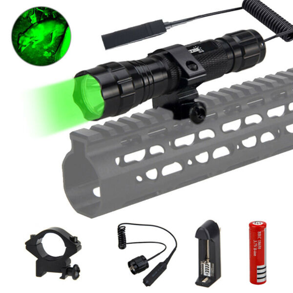 White Red Green Q5 LED Flashlight Gun Picatinny Light Mount with Pressue Switch