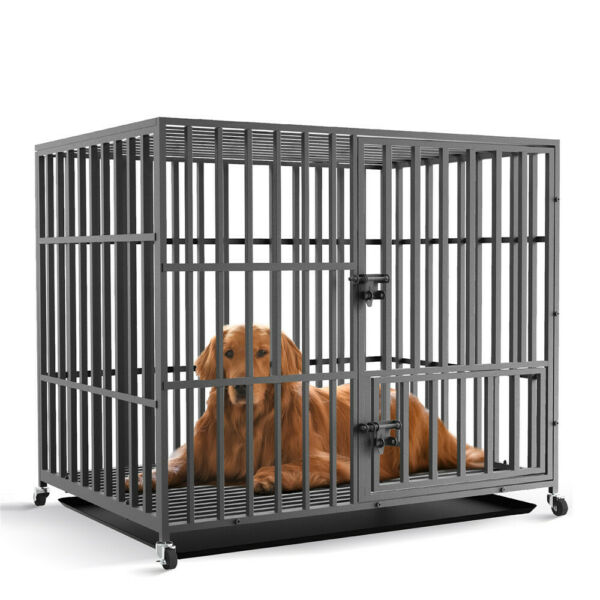 46quot; Premium Heavy Duty Metal Pet Dog Cage Large Crate Kennel Tray Exercise Pan $199.95
