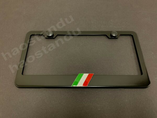 1x ITALIAN FLAG 3D Emblem Badge BLACK Stainless License Plate Frame RUST FREE