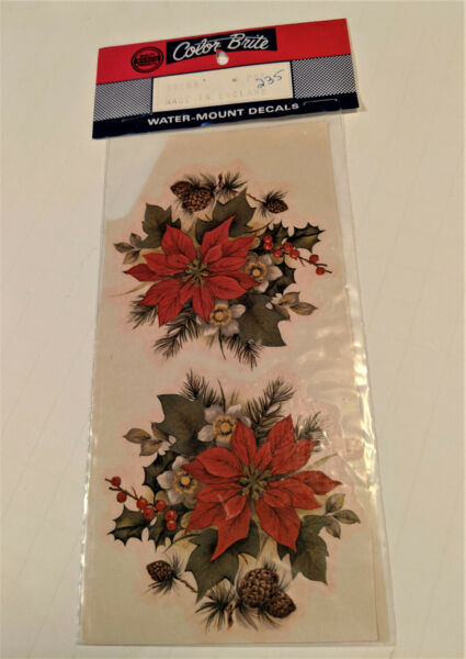 vintage Color Brite Water Mount Slide Ceramic Decals Christmas Poinsettia Flower $1.50