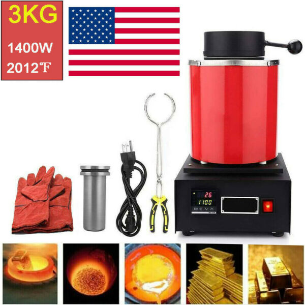 3KG Automatic Electric Metal Melting Furnace Forge Gold Copper Aluminum 110V. $216.99
