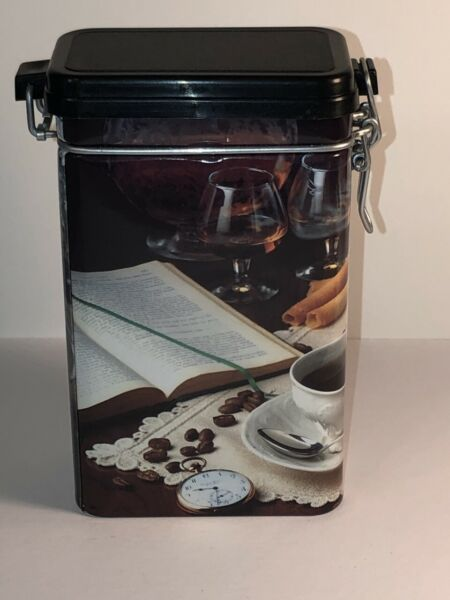 NEW COFFEE THEMED COFFEE STORAGE CANISTER FOR 8 OZ OF BEANS ITALIAN MADE