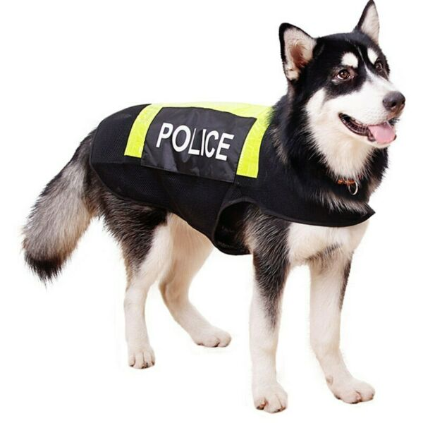 Large Dog Reflective Vest Working Dog Police Costumes Clothes Breathable Mesh $16.39